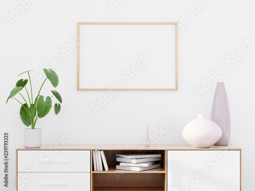 Vászonkép Modern living room interior with a wooden dresser and a horizontal poster mockup