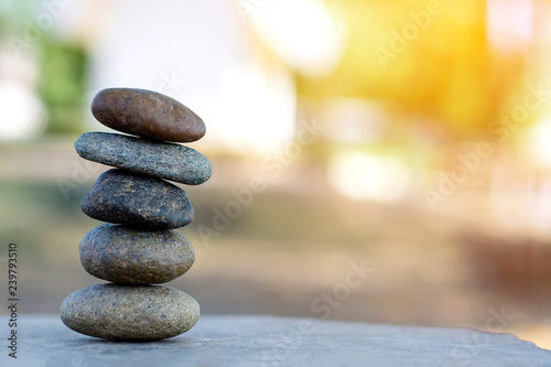 Foto op Aluminium Stenen in het Zand Balance stone with spa on abstract background copy space