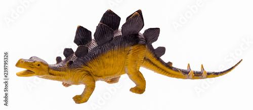 Obraz na plátně Stegosaurus dinosaur toy figure, isolated on white background
