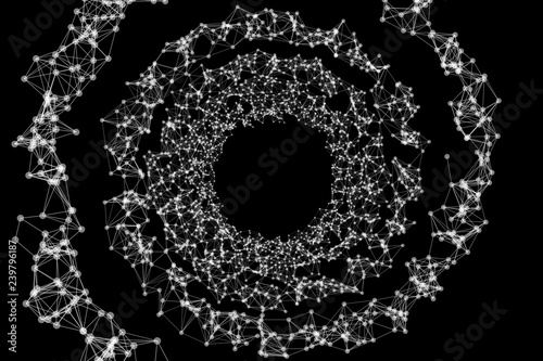 Spiral tunnel with network connection pattern lines on black