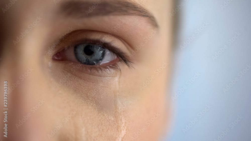 Fototapeta Sad woman crying, suffering pain eyes full of tears, domestic violence victim