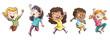 canvas print picture - niño y niñas saltando