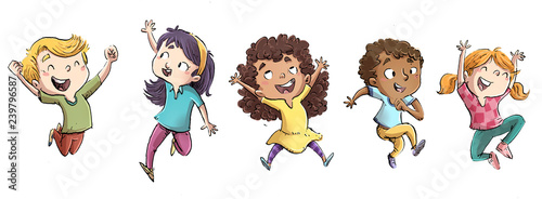 Fotografie, Obraz  niño y niñas saltando