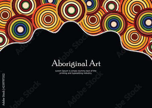 Aboriginal art vector banner with text. Canvas Print
