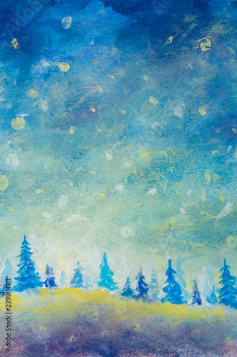 Acrylic Christmas Tree Painting.Oil Painting Abstract Pattern Christmas Background Art