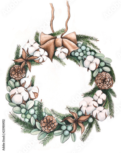 Christmas Wreath With Cotton And Pine Cones And Fir Branches Christmas Wreath Hand Drawing Watercolor Buy This Stock Illustration And Explore Similar Illustrations At Adobe Stock Adobe Stock