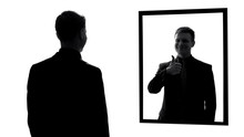 Young Male Reflection Showing Thumbs Up, Good Looking Successful Businessman