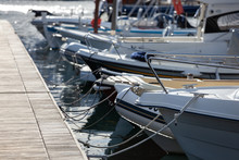 Modern Yachts Moored Close Up Outdoor View