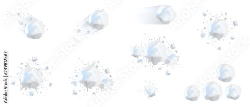 Fotografie, Obraz Snowball splats realistic 3d