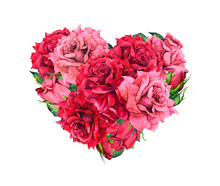 Floral Heart With Red Rose Flo...