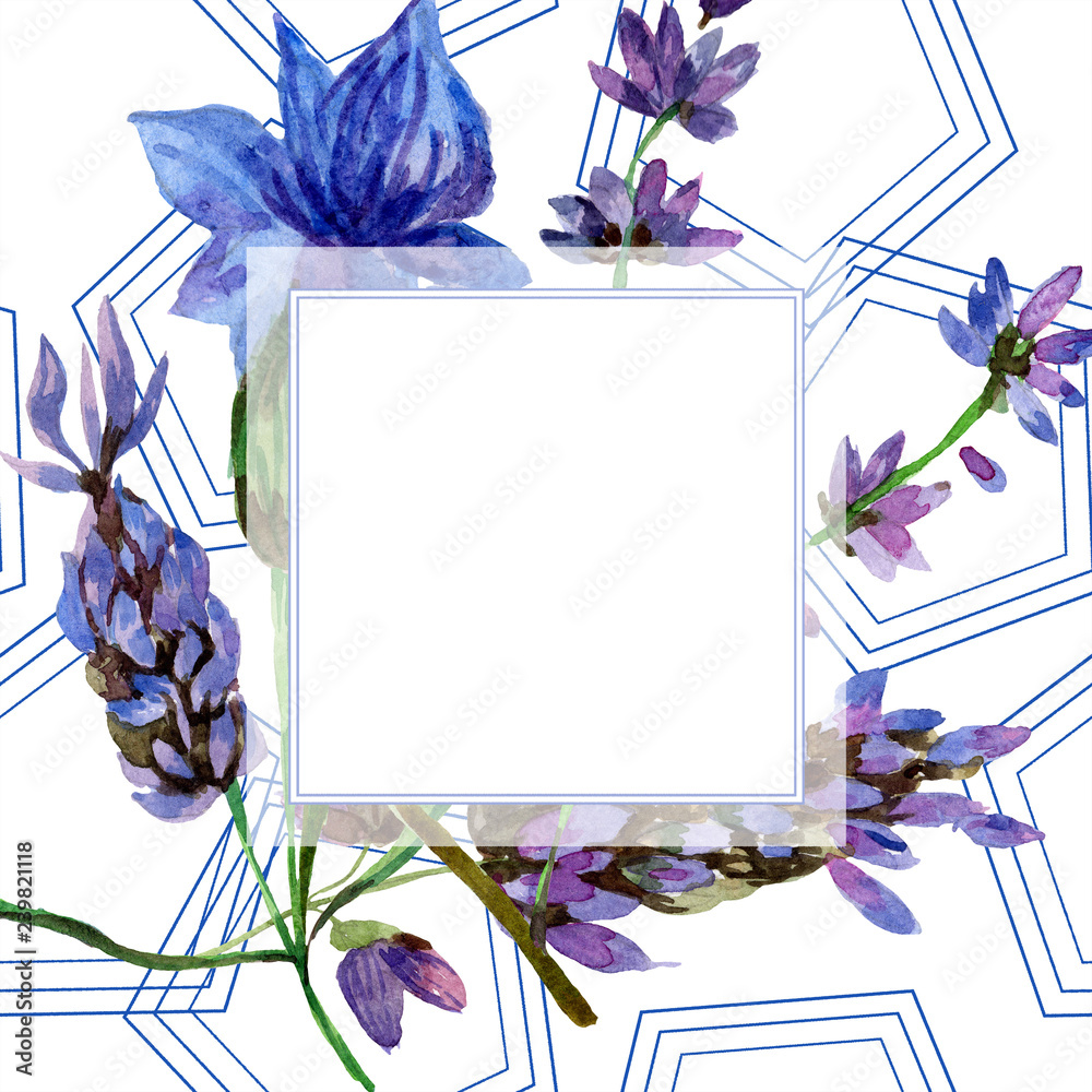 Poster Purple Lavender Floral Botanical Flower Watercolor