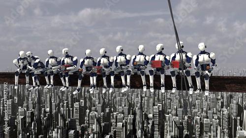 Fotografie, Obraz  robots obreros futuro