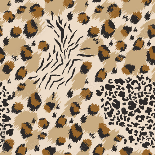obraz PCV Leopard seamless pattern. Tiger skin print. Animal background. Vector illustration