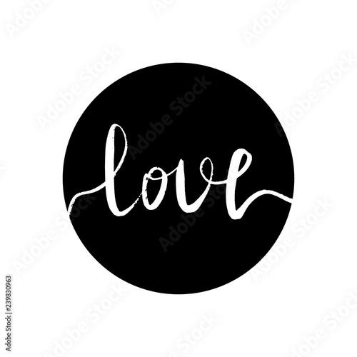 Photo White inscription love in a