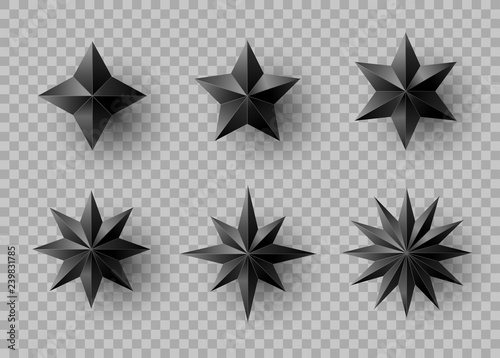 Fototapeta Set of stars and flowers with shadow on transparent background. New year and Christmas design elements, vector illustration. obraz na płótnie