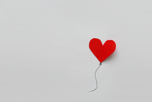 Valentines Day Card. Red Paper Heart Shape Balloons On Thread. Paper Cut Style And Minimalist Concept