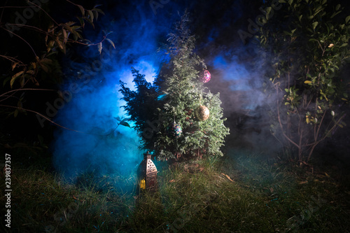 Poster Olive Christmas and New Year decoration on the pine tree branch with lights at the background at night outdoors. Concept of winter holidays.