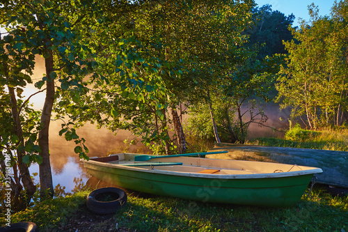Fototapety, obrazy: Peaceful morning landscape with fog and boats