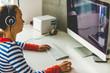 Teenage girl working on computer