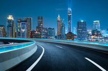 Curvy Flyover Highway Moving Forward Road With Bangkok Cityscape Night Scene View . Motion Blur Effect Apply