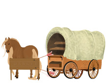 Wooden Vehicle Pulled By Horses. Watercolor Western. West Story Illustration. Cowboy Clip Art On White Background Rancho Retro Style