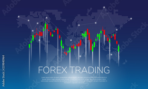 Forex Trading On World Map Background Vector Ilration