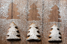 Three Christmas Tree Shaped Gingerbread Cookies.