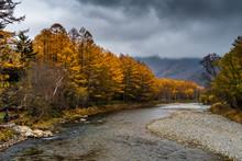 Azusa River In Autumn In Kamikochi, Japanese Alps, Chubu Sangaku National Park
