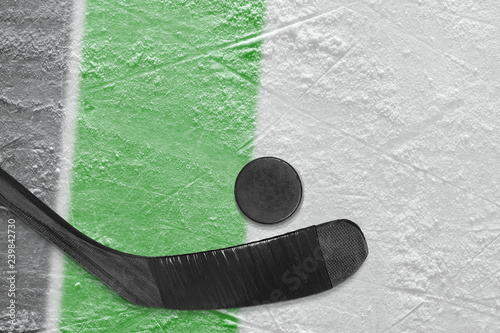 Hockey stick, puck and ice arena fragment with black and green lines
