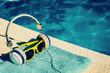 Spa accessories for relaxing and restoring - headphones and sunglasses - copy space