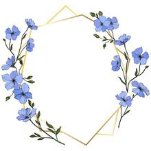 Vector. Blue Flax Flower. Engraved Ink Art. Frame Golden Crystal. Geometric Crystal Stone Polyhedron Mosaic Shape.