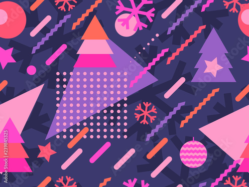fototapeta na lodówkę Christmas seamless pattern memphis with snowflakes and fir-trees. Great for brochures, promotional material, wrapping paper and wallpapers. Vector illustration