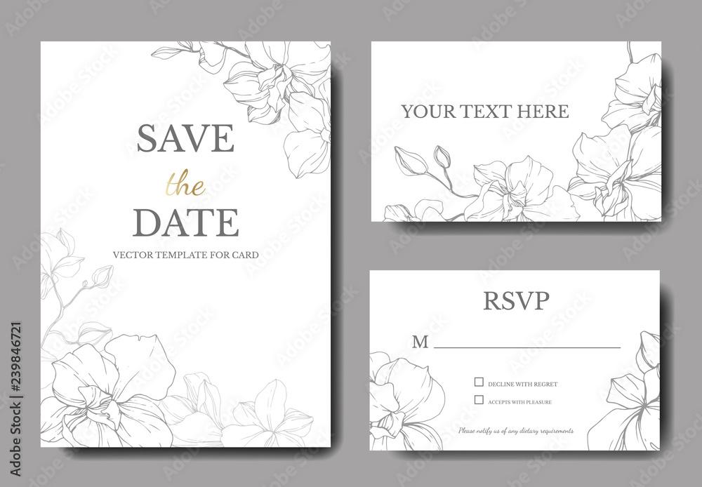 Fototapety, obrazy: Vector Orchid. Engraved ink art. Wedding background floral border. Thank you, rsvp, invitation card illustration.
