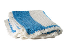 Handcrafted Blue And White Crochet Afghan Throw Blanket Isolated On A White Background