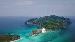Aerial view of beautiful white sand beach and snorkel point at Cockburn island in Andaman sea near Ranong Thailand, Myanmar (Video from Drone)