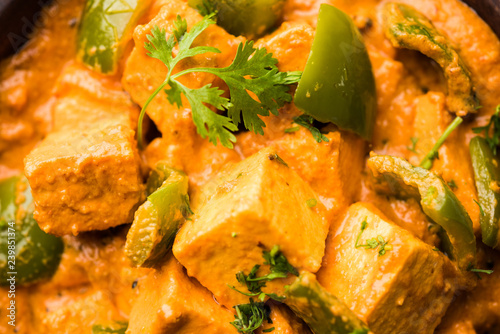 Spoed Fotobehang Eten Malai or achari Paneer in a gravy made using red gravy and green capsicum. served in a bowl. selective focus