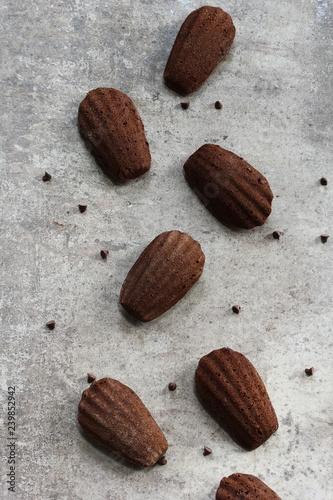 Fotografia, Obraz  Homemade Chocolate Madeleines top down view with copy space
