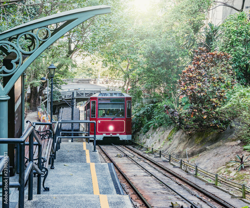 Retro tram moves to Victoria Peak. Hong Kong..
