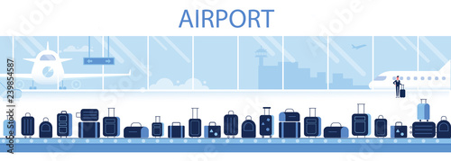 Photo Different Suitcases On Baggage Conveyor Belt In Airport