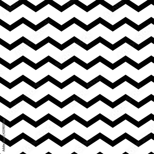 Foto auf Leinwand Künstlich Modern geometric seamless pattern zig zag. Black waves isolated on white background. Classic striped retro background. Vector illustration