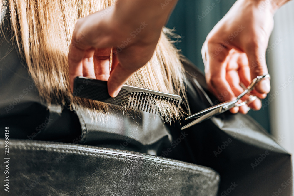 Fototapeta close-up partial view of hairstylist cutting hair to beautiful young woman in beauty salon