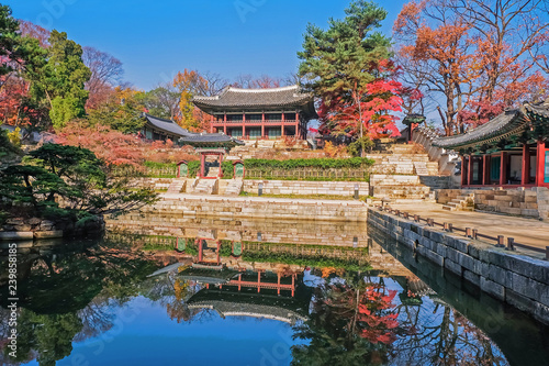 Keuken foto achterwand Seoel View of Juhamun Pavilion, the secret garden of Changdeokgung Palace and reflection in the pond in Autumn season in Seoul, South Korea.