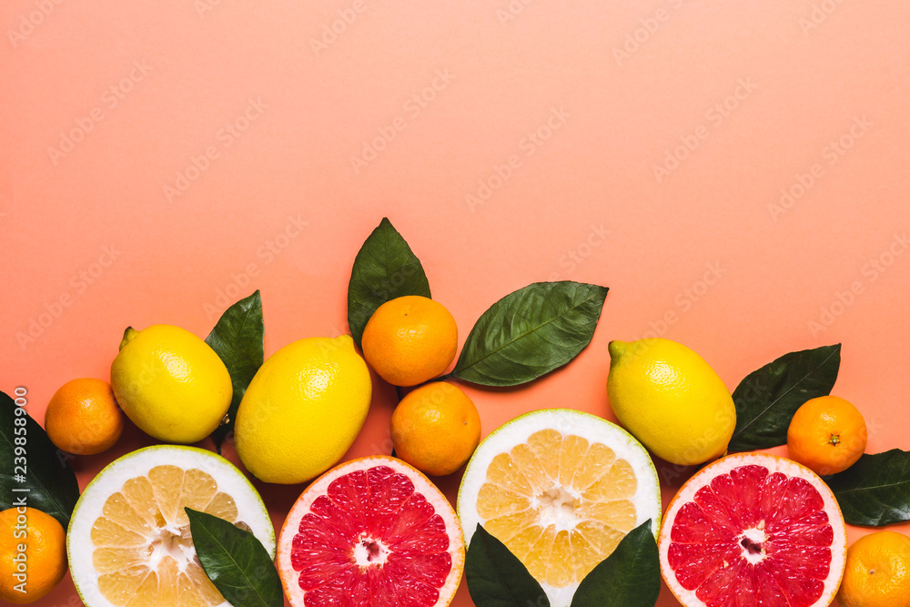 Fototapety, obrazy: Living coral background with fresh citrus fruits. Healthy food concept