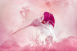 canvas print picture calla lily in a pink ink cloud