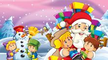 Cartoon Snow Scene With Santa ...
