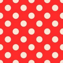 Polka Dots Seamless Pattern Vector, Bright Red
