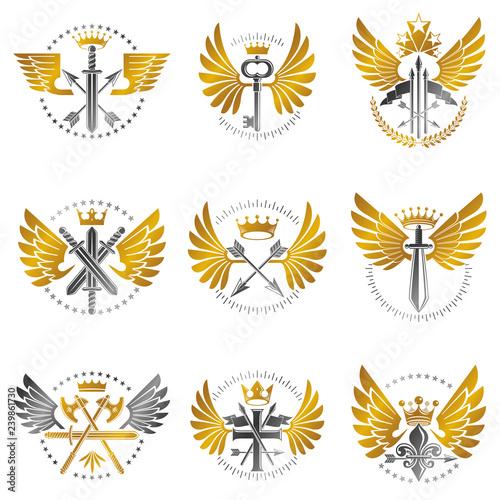 Photo Vintage Weapon Emblems set