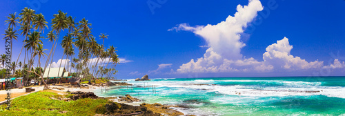 Poster Asia land Great beacehs of Sri Lanka. Weligama in south of island