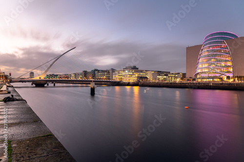 View of Dublin Skyline and River Liffey at Dusk