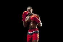 Hands Of Boxer Over Black Back...